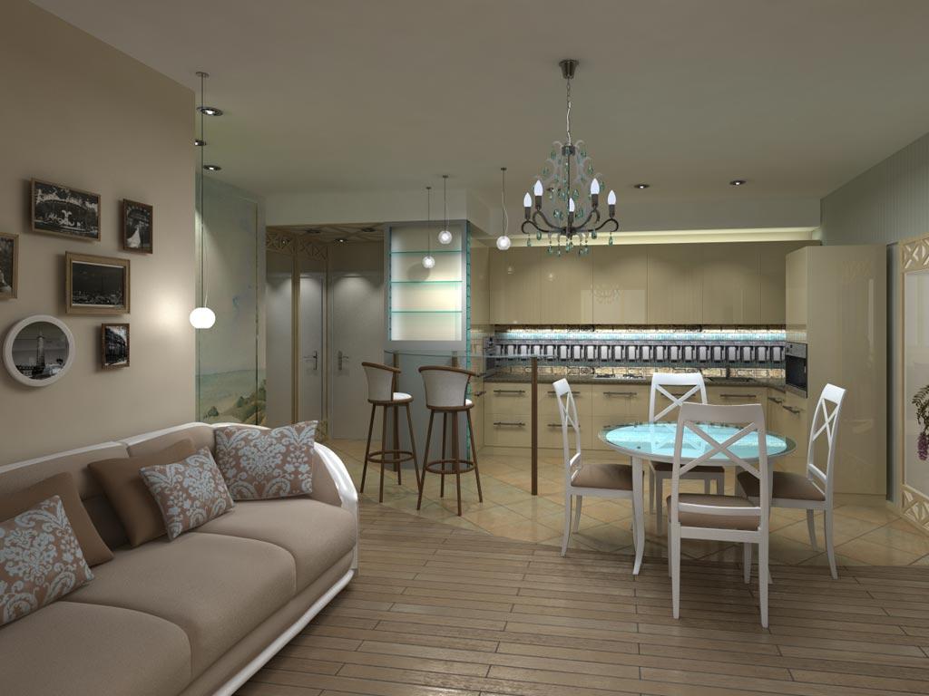 Французский стиль в интерьере однокомнатной квартиры.