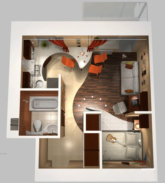 Классический стиль однокомнатной квартиры