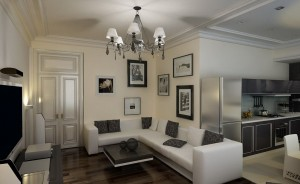 Классический стиль в интерьере однокомнатной квартиры.