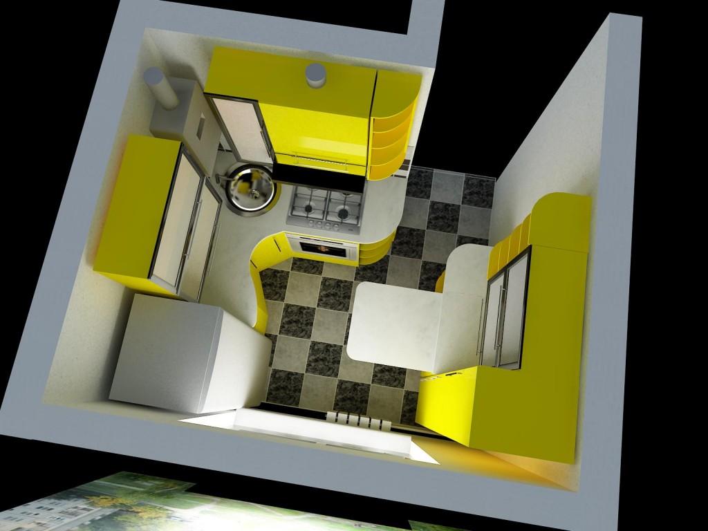 3D макет - интерьер маленькой кухни