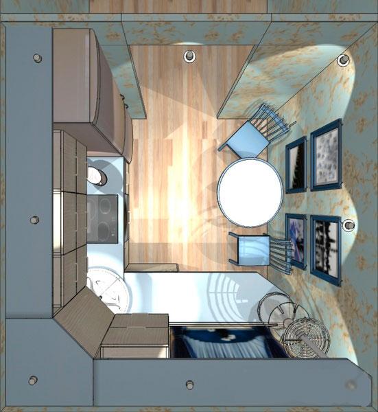 Проект интерьера сверху мини-кухни