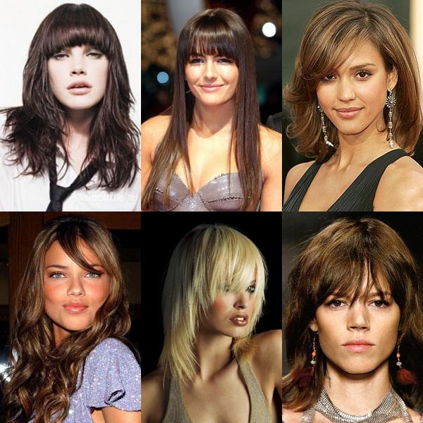 Удлинённая чёлка различной формы на средние волосы